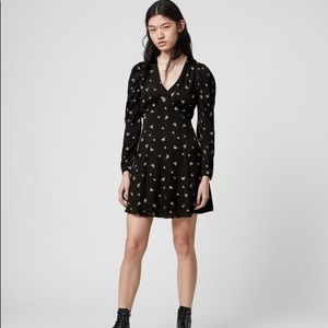 All Saints Embroidered Floral Long Dress